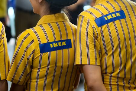 Bucharest, Romania - June 24, 2019: IKEA staff dressed in uniforms are waiting the first buyers in the opening day of the IKEA Pallady store, which is the second in Bucharest and elsewhere in Romania. Editorial