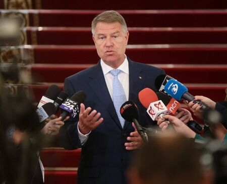 Bucharest, Romania - June 04, 2019: Klaus Iohannis, the president of Romania, speak to the press, before consultations with parliamentary parties, at the Cotroceni Palace, in Bucharest.