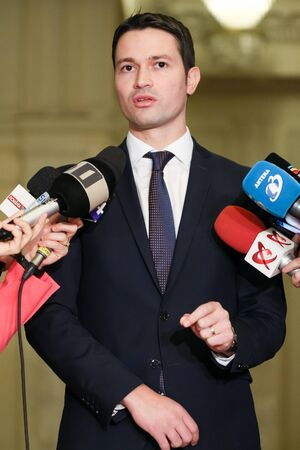 Bucharest, Romania - Februarry 19, 2019: Robert Ionatan Sighiartau, Secretary General of the National Liberal Party (PNL), speaks during a press conference, in Bucharest, Romania.
