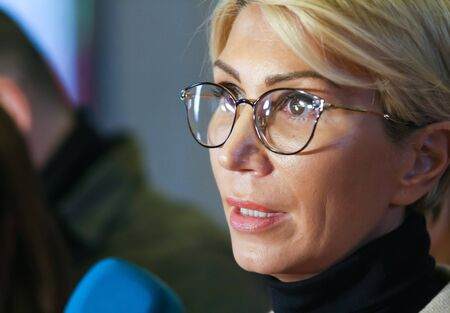 Bucharest, Romania - Februarry 19, 2019: Raluca Turcan, First Vice-President Communication of the National Liberal Party (PNL), speaks during a press conference, in Bucharest, Romania.