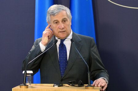 Bucharest, Romania - October 18, 2018: Antonio Tajani, President of the European Parliament, holds a speech at the end of the meeting of the EP Conference of Presidents with the Romanian Government at Victoria Palace in Bucharest.