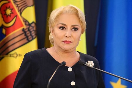 Bucharest, Romania - October 18, 2018: Viorica Dancila, Prime Minister of Romania, holds a speech at the end of the joint meeting of Romania and Republic of Moldova Governments at Victoria Palace in Bucharest.