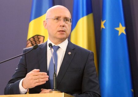 Bucharest, Romania - October 18, 2018: Pavel Filip,, Prime Minister of the Republic of Moldova, holds a speech at the end of the joint meeting of Romania and Republic of Moldova Governments at Victoria Palace in Bucharest. Sajtókép