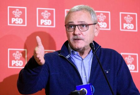 Bucharest, Romania - February 03, 2019: Liviu Dragnea, the chairman of the ruling Social Democratic Party (PSD), speaks during a press conference, in Bucharest, Romania.