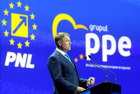 Bucharest, Romania - March 16, 2019: Klaus Iohannis, the president of Romania, speaks at the European Peoples Party (EPP) summit, held in Bucharest.