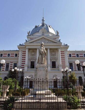Bucharest, Romania - September 10, 2018: The Spatharios Mihai Cantacuzino statue, first statue built in Bucharest (1865-1869), being made of Carrara marble by the sculptor Karl Storck, located in front of Coltea Hospital, in Bucharest, Romania.