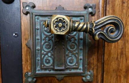 Bucharest, Romania - January 13, 2019: The door handle of The Coral Temple from Bucharest, raised between 1864-1866, the most impressive and beloved synagogue from Romania. Image for editorial use.