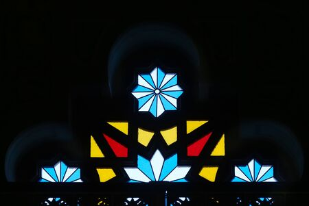 Bucharest, Romania - January 13, 2019: Stained glass window in The Coral Temple from Bucharest, raised between 1864-1866, the most impressive and beloved synagogue in Romania. Image or editorial use