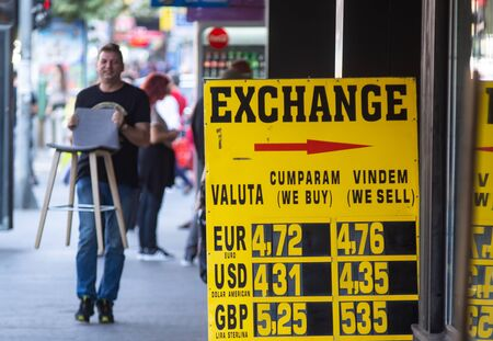 Bucharest, Romania - September 30, 2019: The exchange rate of the main currencies is displayed on a yellow board at the entrance of a currency exchange office in Bucharest