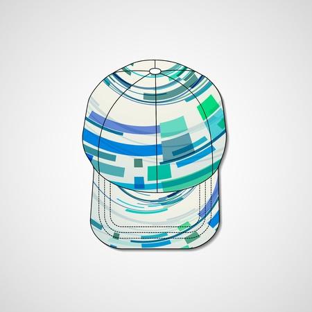peaked cap: Abstract illustration on peaked cap, template editable.