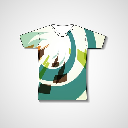 Abstract illustration on t-shirt, template editable.