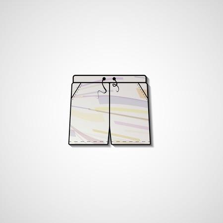 Abstract Illustration auf Shorts, Vorlage editierbar. Vektorgrafik