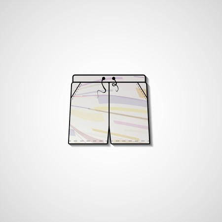 swim wear: Abstract illustration on shorts, template editable.