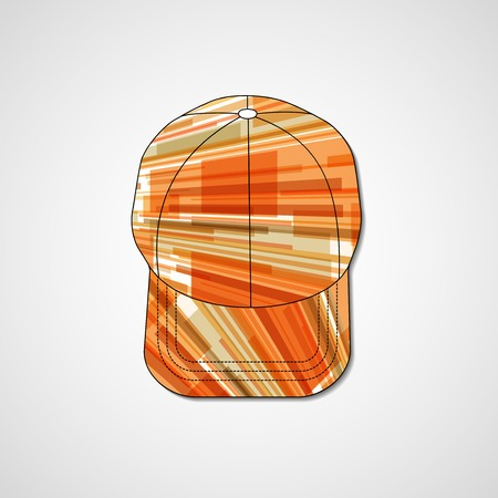 hat with visor: Abstract illustration on peaked cap, template editable.