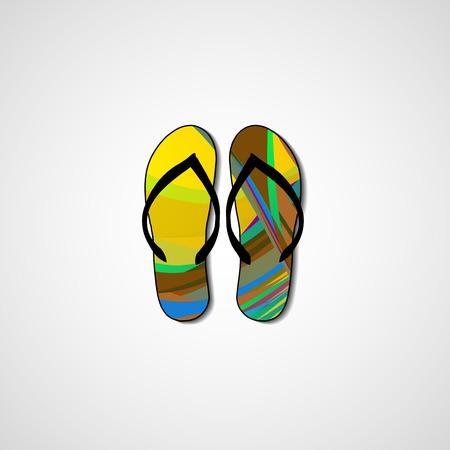 Abstract illustration on flip flops, template editable. Illustration