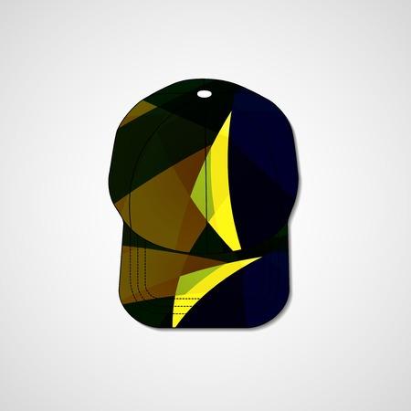 Abstract illustration on peaked cap, template editable.
