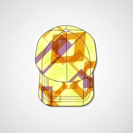 Abstract illustration on peaked cap, template editable. Vector