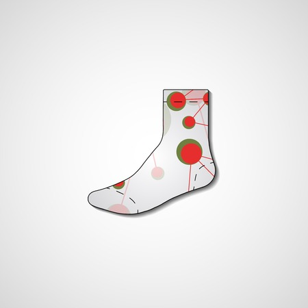 Abstract illustration on sock, template editable.