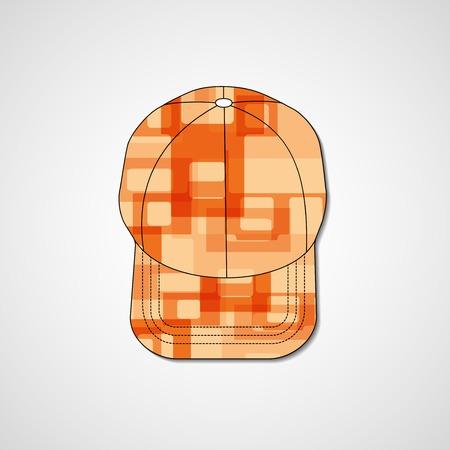 peak hat: Abstract illustration on peaked cap, template editable.