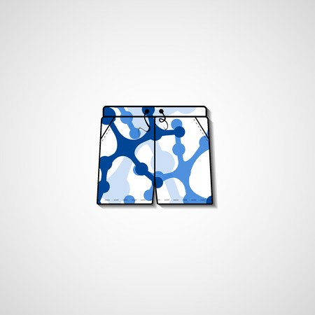 Abstract illustration on shorts, template editable. Vector