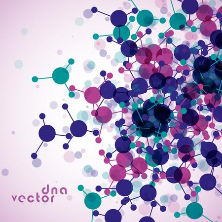 alternating organic: Molecule background colorful illustration - digital composition.