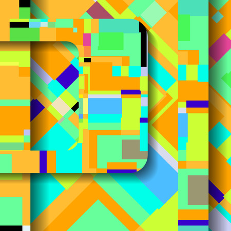 square composition: Abstract illustration, colorful square composition.
