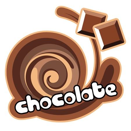 melkachtig: Chocolate.Background voor het ontwerp van de verpakking yoghurt. Vector illustratie. Stock Illustratie