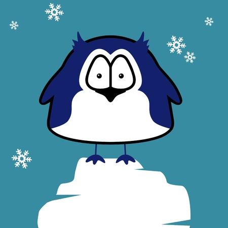 Penguin on ice floe. Vector