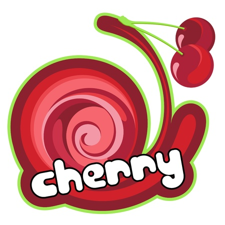 Cherry label. Vector
