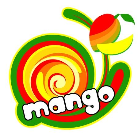 mango fruta: El hielo de mango crema. Antecedentes para el dise�o de empaque. Ilustraci�n del vector. Vectores