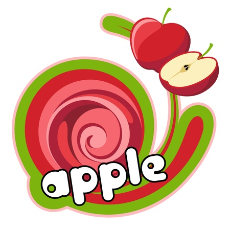 Label apple red. Background for design of packing.  Illustration