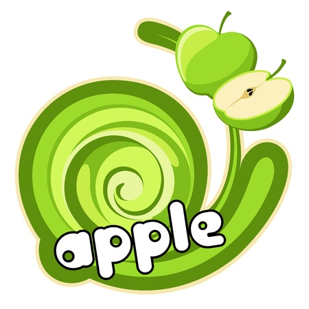 Green apple sticker. Background for design of packing.  Vector