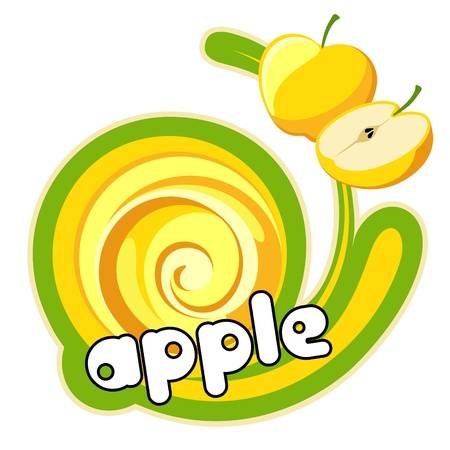 Yellow apple. Background for design of packing.  Vector