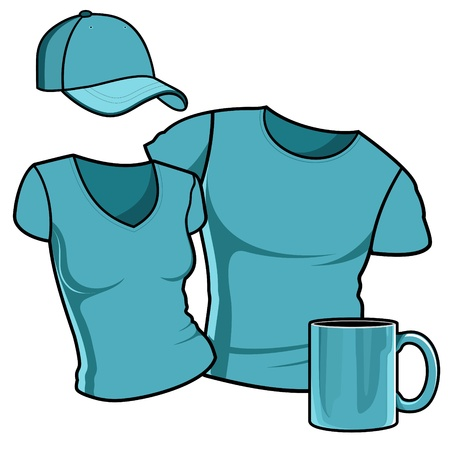 T-shirt men and women   Baseball cap   Photorealistic white cup