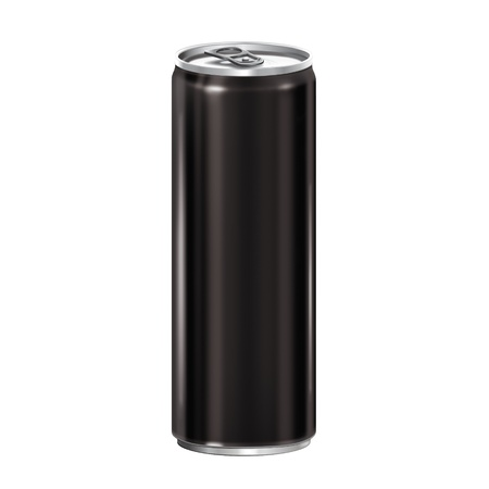 energy drink: Can black isolated on white background