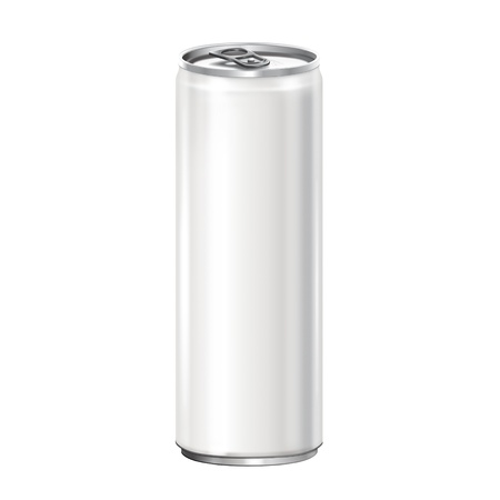 energy drink: White aluminum can on white background