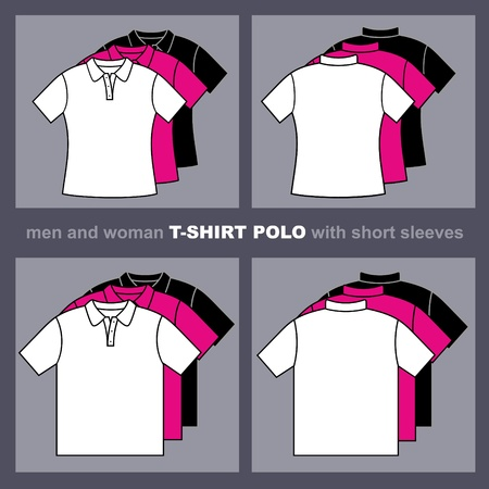 T-shirts templates   Men and woman polo t-shirts  Vector