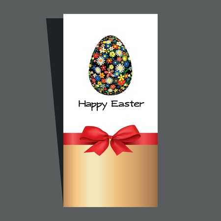 Easter egg with a bow   Vector illustration   Vector