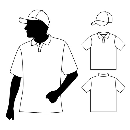 short sleeve: T-shirt  Men s polo shirt template with human body silhouette and baseball cap Illustration