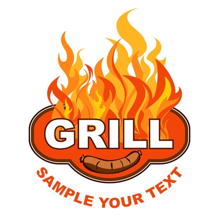 Grill sticker on fiery background
