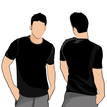 T-shirt heren voor en achter Stock Illustratie