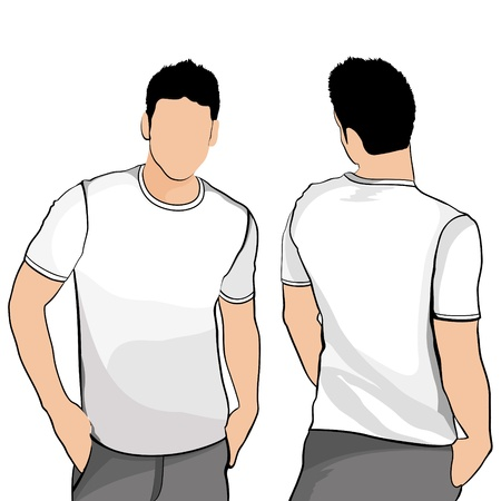 sleeved: T-shirt men back and front   Illustration