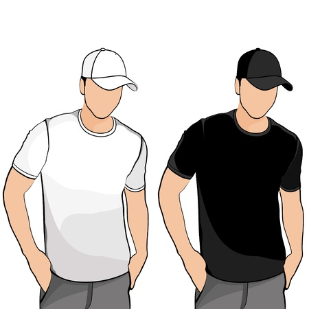 t shirts: T shirts men silhuets with cap