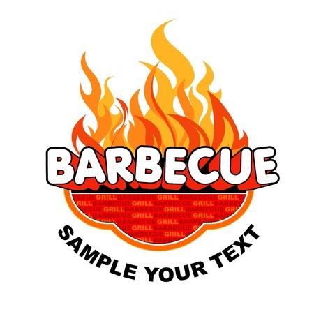 carne a la brasa: Grill etiqueta en fondo ardiente Vectores