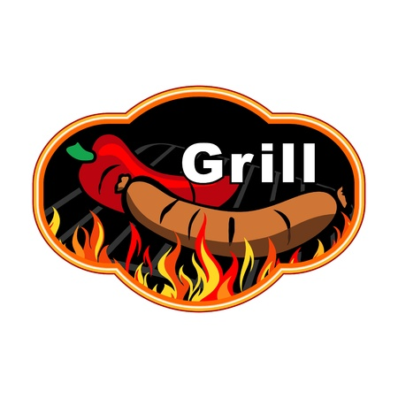 bonfire: Grill sticker on fiery background