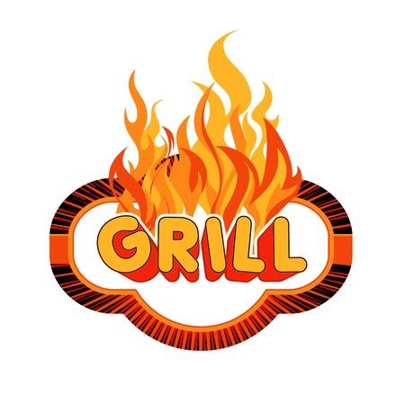 kebab: Grill sticker on fiery background