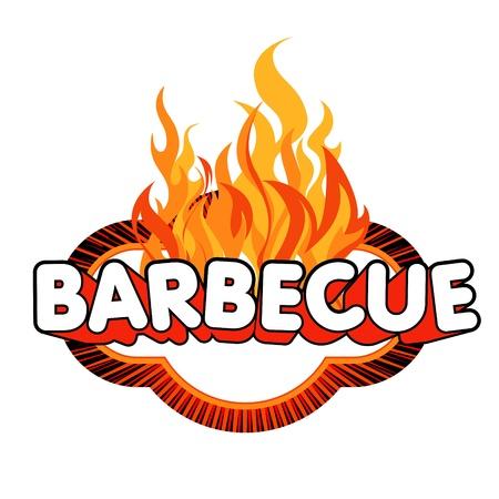 Barbecue Aufkleber mit Flammen