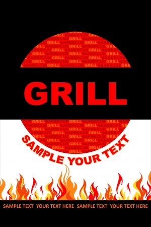 Grill sticker with flames Vector
