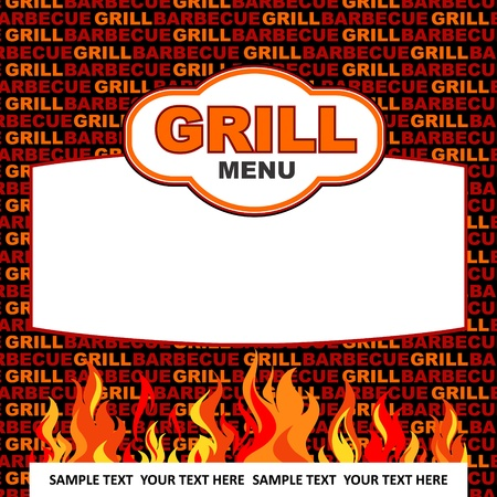 Grill menu design with flames