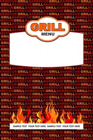 Grill menu design 일러스트